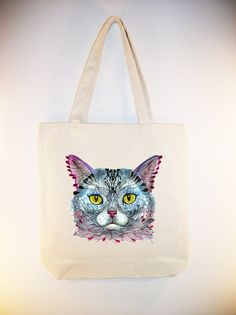 101e4f1cee Blue Cat face ARTIST OLA LIOLA on 15x15 Canvas Tote by Whimsybags