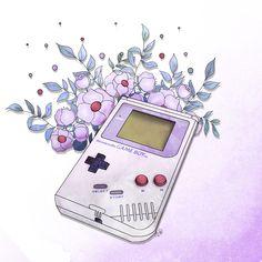 Retrogaming game boy, ma première console de jeux vidéos et mes premiers rage quit dû à la difficulté des jeux de l'époque. Nintendo, Zelda , Mario, gaming artwork fanart illustration geek