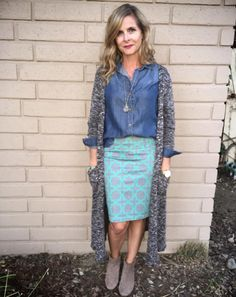 I love this Cassie skirt paired with a simple chambray top and LuLaRoe Sarah cardigan! This look is great for so many things- it's super easy to put together and looks really polished .