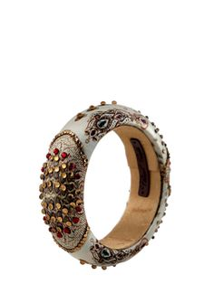 Embellished Cream Jewel Bangle ,# Puneet Gupta's # designer # jewellery # Bangles # stone jewellery# shop at www.jivaana.com