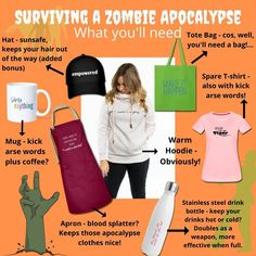 just for a laugh, here's a survival guide for all the things you'll need for survival plus a positive mindset!! #halloween #halloweenfun #zombieapocalypse Positive Mindset, Positive Attitude, Smoothie Shop, Zombie Apocalypse Survival, Create T Shirt, Survival Guide, Women Empowerment, Halloween Fun, Live Life