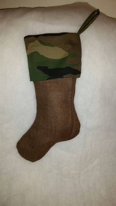 Check out this item in my Etsy shop https://www.etsy.com/listing/227888914/cammo-christmas-stocking-natural-burlap