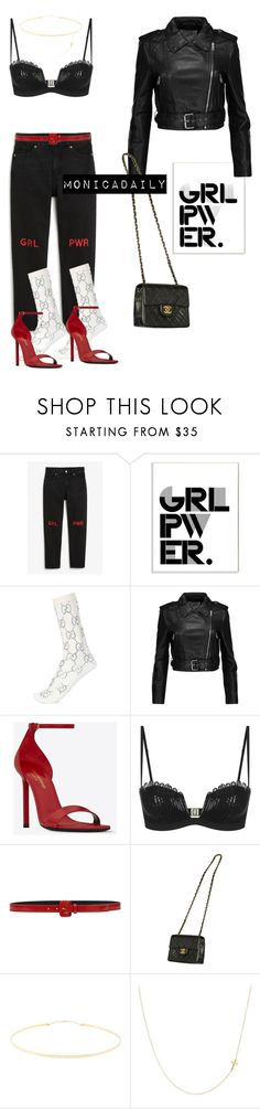 """""""GRL PWR"""" by monicadaily ❤ liked on Polyvore featuring Monki, Stupell, Gucci, W118 by Walter Baker, Yves Saint Laurent, La Perla, Kiton, Chanel, Lana Jewelry and Bony Levy"""