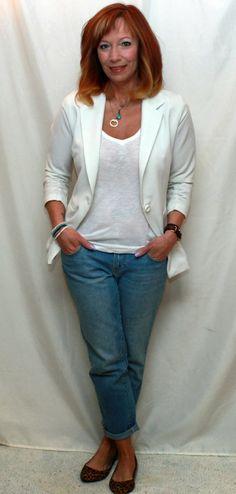 Fashion Fairy Dust:  White Blazer, White Tee, Boyfriend Jeans, Layered Necklaces And Leopard Flats