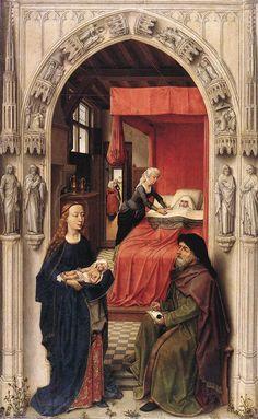 """Rogier van der Weyden (1400-1464) St John the Baptist altarpiece  left panel Oil and tempera on wood c1454 77 x 48 cm (30¼"""" x 18¾"""") Staatliche Museen (Berlin, Germany)"""