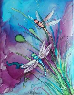 96 DIY Abstract Alcohol Ink Art Ideas - Page 5 of 10 - Seidenmalerei - Alcohol Ink Tiles, Alcohol Ink Crafts, Alcohol Ink Painting, Dragonfly Painting, Dragonfly Art, Silk Painting, Painting & Drawing, Watercolor And Ink, Watercolor Paintings