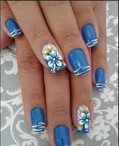 26 New Nail Designs for Spring - Nail Art Designs 2020 Pretty Nail Art, Cute Nail Art, Nail Art Blue, Blue And White Nails, New Nail Art Design, Nail Art Designs, Nails Design, Flower Nail Designs, Beach Nail Designs