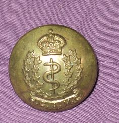 Vintage Royal Canadian Army Medical Corp Brass Collectible Button RCAMC
