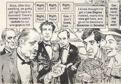 Mort Drucker illustrated panel from Mad Magazine's parody of The Godfather. That Brando face. Caricatures, Jack Davis, Mad Magazine, Caricature Drawing, Comic Sans, American Comics, Vintage Comics, The Godfather, Illustrators