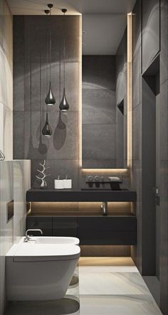 Browse modern bathroom designs and decorating ideas. Discover inspiration for your minimalist bathroom remodel, including colors, storage, and layouts. Bathroom Design Luxury, Modern Bathroom Design, Modern Interior Design, Modern Luxury Bathroom, Minimalist Bathroom Design, Modern Bathtub, Minimal Bathroom, Studio Interior, Simple Bathroom