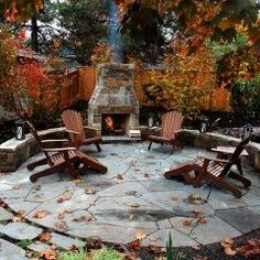 stone patio and seating, fireplace