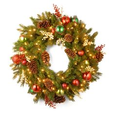 Have to have it. 30 in. Decorative Collection Home For the Holidays Pre-Lit Christmas Wreath $128.99 love this
