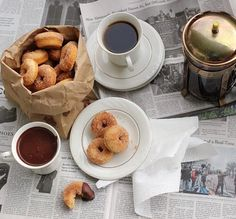 Coffee and churro donuts with chocolate fudge sauce.  // Okay, last pin. I'm REALLY getting the munchies..