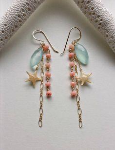 Real Starfish Dangle Earrings, Peach Aqua Gemstone Cluster, Starfish Earrings, Beach Dangle Earrings, Beachy Cluster: Ready to Ship