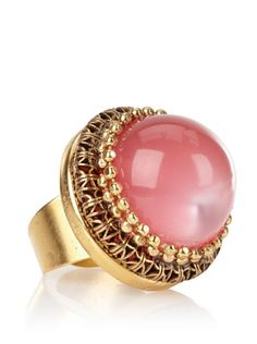 55% OFF Lenora Dame Pink Stone and Chain Adjustable Statement Ring