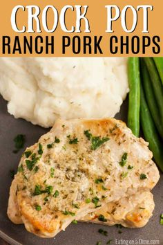 Crock Pot Ranch Pork Chops - easy ranch pork chop recipe - Busy week nights are made easier with this simple but delicious Crockpot Ranch Pork Chops recipe. Crock Pot Slow Cooker, Crock Pot Cooking, Cooking Recipes, Healthy Pork Chops, Easy Pork Chop Recipes, Crockpot Pork Chop Recipes, Ranch Pork Chops, Pork Dishes, Chops Recipe