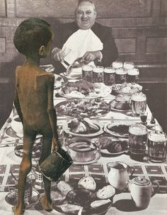 Title:Famine Artist: Andres Gamiochipi Date:November 7, 2013  The picture depicts starving boy standing on a table looking over a wealthy man eating a full meal. This picture demonstrates how the rich have too much and the poor have too little, resulting in hungry people all over the world. The smile on the man's face while he is eating demonstrates how the rich do not care how there are extremely poor people in this world. They just continue on with their surplus lifestyle.