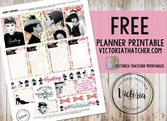 Free Planner Printable. Audrey Hepburn. Victoria Thatcher