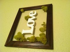 Made this for $4   Walmart picture frame Michaels moss and wooden word