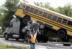You see that crumpled mess of gray steel and wheels under that bus and on the back of the big truck? That WAS a pickup truck! The driver of that pickup truck was a 19 year old male, who had received and sent 11 text messages in the 11 minutes prior to this crash. He rear ended the big truck tractor at 55 MPH, You can see the rest..