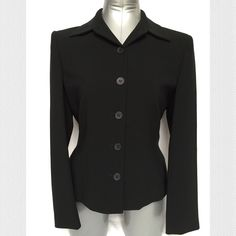"""Jones New York Black Blazer Jones New York Collection Blazer  •Black Blazer with lightly padded shoulders •Fully lined, very easy to care for - does not wrinkle easily •Fabric content: Outer - 64% Triacetate, 36% Polyester, Lining - 100% Acetate •Worn twice, in excellent condition •Measurements:  armpit to armpit = 19"""", shoulder to hem = 23""""  •🚫Trades •🚫Paypal • Bundle and save 💰 Jones New York Jackets & Coats Blazers"""