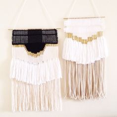 woven paper, raw brass and natural fibers wall hangings by hazel & hunter