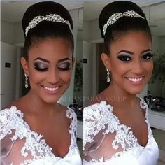 African American. Black Bride. Purple smoky eye, glamour Beautiful bridal hairstyles , updos, long hair, short hair, very cute and elegant wedding hairdos http://www.shorthaircutsforblackwomen.com/short-hairstyles-for-black-women/
