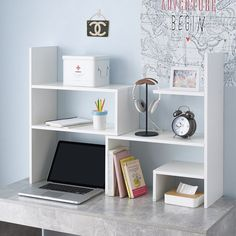 Shop at DormCo for our Classic Dorm Desk Bookshelf - White. This dorm essentials item will add to your dorm room decor with a white color and has shelves along the side and top for college textbooks, notebooks, and other college desk supplies. College Dorm Desk, Dorm Room Desk, College Bedroom Decor, Uni Room, Room Ideas Bedroom, Dorm Desk Decor, Dorm Room Decorations, Room Desks, Dorm Furniture