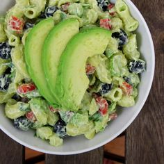 Mind Over Munch | Creamy Avocado Pasta Salad - I used whole wheat pasta and different veggies, but I made the avocado dressing as per the recipe and it was super yummy. My two-year-old loved it!