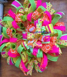 Spring Door Wreaths, Easter Wreaths, Summer Wreath, Holiday Wreaths, Birthday Wreaths, Mesh Ribbon Wreaths, Deco Mesh Wreaths, Floral Wreaths, Ribbon Bows