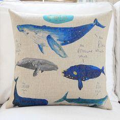 Ocean Whales Throw Pillows