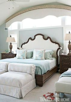 Soft blues contrast with chocolatey browns in this master bedroom. We love how the shape of the headboard echoes the valence above - Traditional Home® / Photo: John Bessler / Design: Mary O'Brien Cabaron Dream Bedroom, Home Bedroom, Master Bedroom, Bedroom Decor, Bedroom Ideas, Bedroom Layouts, Bedroom Office, Bedroom Colors, Traditional Bedroom