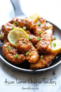 Damn Delicious Asian Lemon Chicken Tenders - A wonderful asian twist to your favorite chicken tenders, tossed in the most heavenly sweet, lemon glaze! Little Lunch, Chicken Tender Recipes, Recipes With Chicken Tenders, Moist Chicken, Popsugar Food, Think Food, Lemon Chicken, Asian Chicken, Glazed Chicken