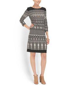Printed Ponte Sheath Dress - Dresses - T.J.Maxx