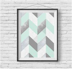 Mint Print Mint Poster Mint Wall Art Chevron Print by PrintAvenue Mint Living Rooms, Mint Rooms, Mint Green Decor, Verde Aqua, Mint Bathroom, Mint Walls, Color Menta, Modern Retro, Illustrations