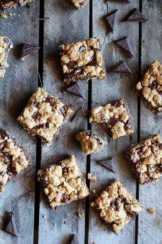Healthy Dark Chocolate Chunk Oatmeal Cookie Bars (Idiot Proof) || halfbakedharvest.com