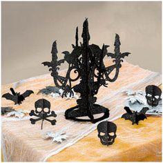 Halloween black paper candelabra ~ for SALE ~ home or idea ~ www. Halloween Candelabra, Table Halloween, Halloween Party Decor, Halloween Ideas, Paper Centerpieces, Candelabra Centerpiece, Polka Dot Theme, Monster High Party, Chandelier