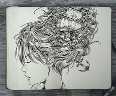 artist from Brazil Gabriel Picolo has created an incredible series of doodles using just pencil and pen on a Moleskine sketchboo. Doodle Art, Gabriel Picolo, Moleskine Sketchbook, Sketchbooks, Fashion Sketchbook, Doodles, Sketchbook Inspiration, Crayon, Art Pages