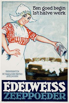 Reclame affiches   1900-1925   Edelweiss zeeppoeder   Vintageposter.nl   Vintage Posters   Historische Posters   Historische Posters
