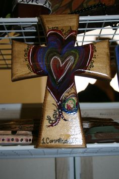 Hand Painted 8' Wooden Cross Wall Decor / Love is by DKPlanners, $17.00 this is the shape i want
