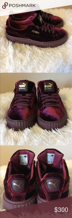 Pumas By Rihanna Size 8 in Woman BRAND NEW. Without box (lost) Never worn at all. Shoe size runs a little big. Suede & the color maroon. Beautiful shoe. Puma Shoes Sneakers