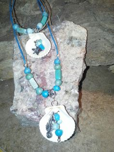"""""""Catch the waves""""! Beach jewelry! """"18 in necklace """"11 in anklet.. I like to cross them it gives them a twist.."""