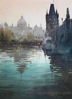 `Reflection on Vltava, Prague` by Djukaric Dusan Watercolor City, Watercolor Artists, Watercolor Landscape, Watercolor Paintings, Watercolours, Urban Sketching, Plein Air, New Artists, Prague