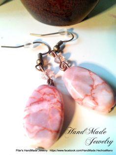 Bisuteria Hecho a Mano -  HadMade Jewelry: Rhodonite Gemstone Earrings Pendientes de Piedra Rodonita  £4  + p&p https://www.facebook.com/HandMade.HechoaMano http://bisuteriahechoamano.blogspot.co.uk/ http://www.etsy.com/shop/HmShop HandMade Jewelry - Bisuteria hecho a Mano