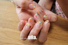 クリアマットネイル福岡のネイルサロンウーニャnailsalonuna #transparent#nailart#colorful#matte