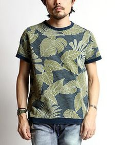 FREAK'S STORE MENS / REMI RELIEF/レミレリーフ インディゴジャガードリーフアロハクルー (半袖)  【MADE IN JAPAN】(Tシャツ・カットソー)
