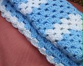 Baby boys lightweight crochet blanket, baby blanket, car seat cover, crib blanket, handmade blanket, blue and white blanket, crochet throw