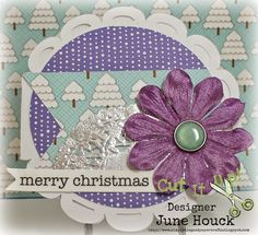 "Simply Elegant Paper Crafts blog; card stock:  DCWV; designer papers:  Doodlebug Design ""Frosty Friends""; silver doily and sentiment:  SRM Stickers ""Happy Holidays""; large flower:  Bazzill Basics; glazed brad:  My Mind's Eye ""All Is Bright"""