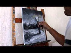 Curso de Pintura em Tela: [Aula 02] Paisagem - Pintada com 2 Cores para Iniciantes 2º Passo - YouTube