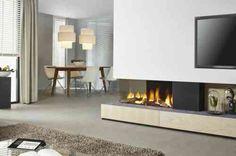 insert double face : cheminée d'angle au gaz et déco scandinave